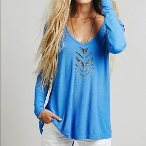 Free People V Neck Waffle Thermal Blue S